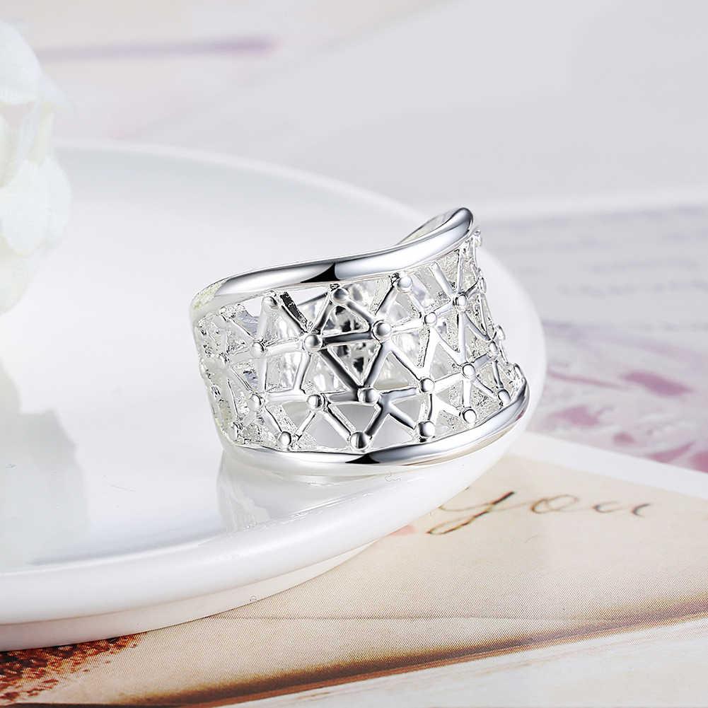 Большая круглая оправа на леске кольца из стерлингового серебра 925 для Для женщин Jewelry ювелирные изделия Анель Anillos Aneis ювелирные изделия Анель Anillo подарок любимым