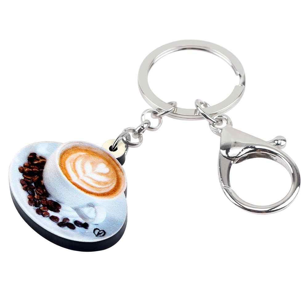 WEVENI อะคริลิคน่ารักถ้วยกาแฟสีขาว Key Chains แหวนแฟชั่นเครื่องประดับสำหรับผู้หญิงของขวัญกระเป๋าถือจี้ตกแต่ง