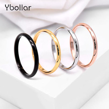 цена Simple 2mm Thin Rings For Men Women Couple Wedding Rings Punk Stainless Steel Plain Band Finger Ring Party Jewelry US Size 3-10 онлайн в 2017 году