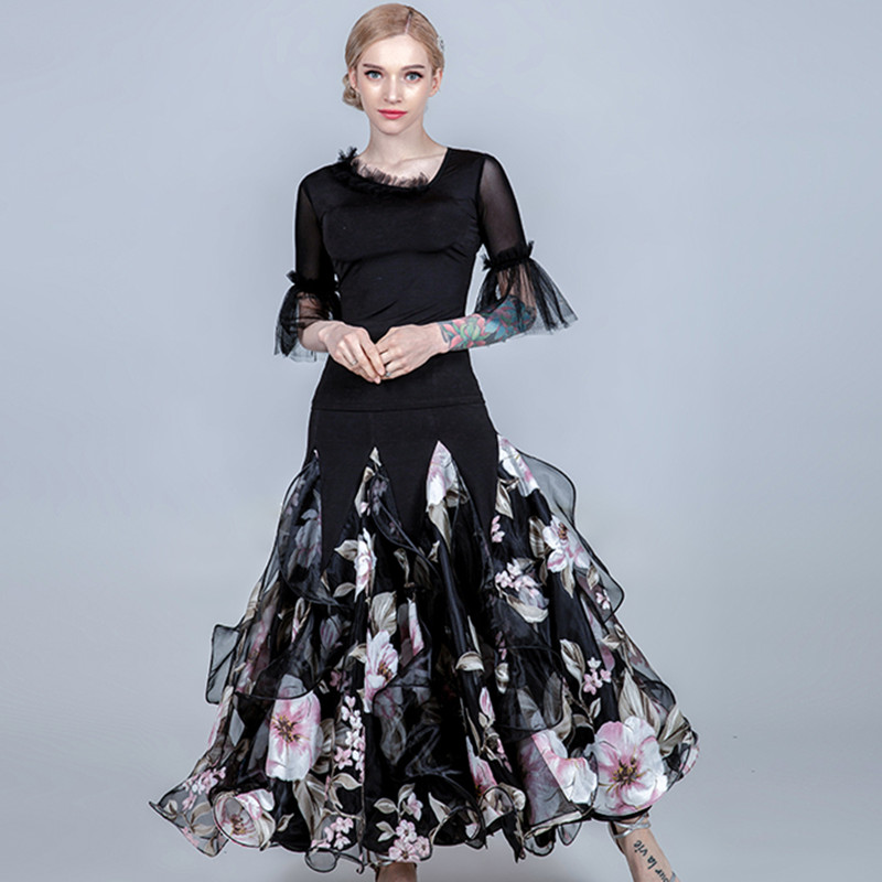 Ballroom Dance Skirt Women Flamenco Skirt Ballroom Dress Standard Social Dress Waltz Skirt Dance Wear Women Spanish Dress Print