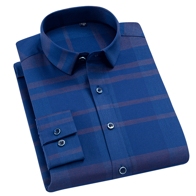 Mens Stretch Standard-fit Plaid Checkered Dress Shirts Smart Casual Thin Breathable Comfortable Soft Long Sleeve Easy Care Shirt