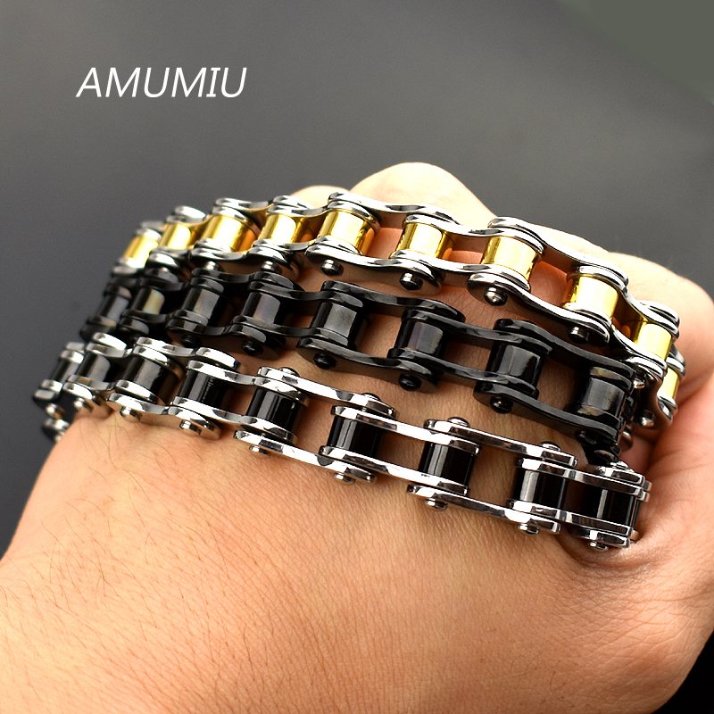AMUMIU Cool Heavy Men Biker Bicycle Motorcycle Link Chain Mens Bracelet & Bangle Fashion Punk Stainless Steel Jewelry HB094