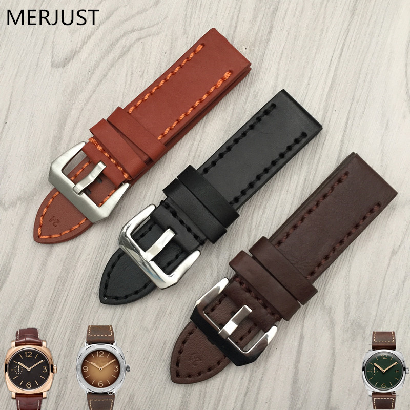 22mm 24mm 26mm Italian Cow Leather Watchband for Luxury Universal Watches Strap Band For Panerai Man For <font><b>PAM</b></font> <font><b>Bracelet</b></font> Handmade image
