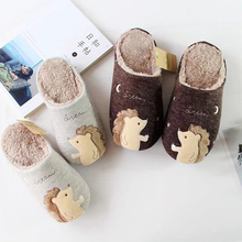Winter Cartoon girls slippers Cute Animal House shoes for women Short plush weaving Suede Bedroom Fur