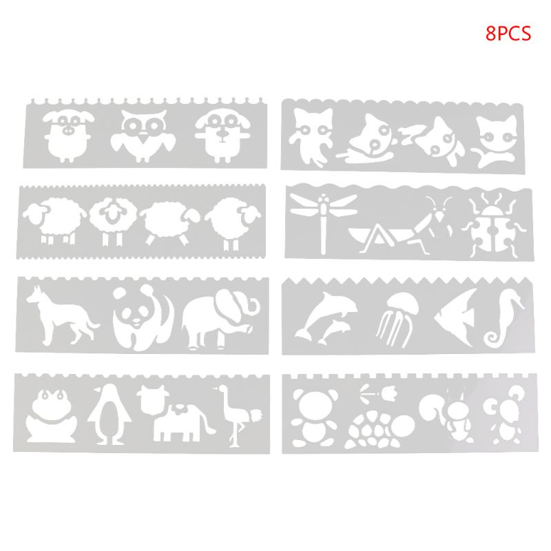 8Pcs/set Kids Plastic Drawing Template Rulers Stencils DIY Painting DIY Making School Supply Tools Craft