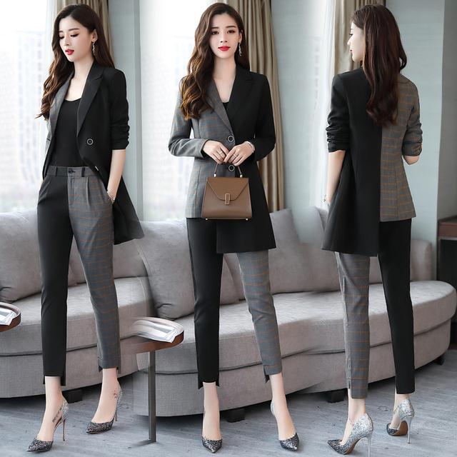 Formal wear office two pieces pant suits for women korean suits set