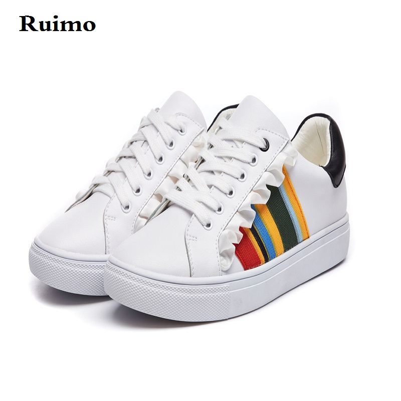 b04331fd6fd sneakers Rainbow leather shoes with lotus leaf zapatillas hombre deportiva  running shoes yeezys air 350 men shoes sneakers women