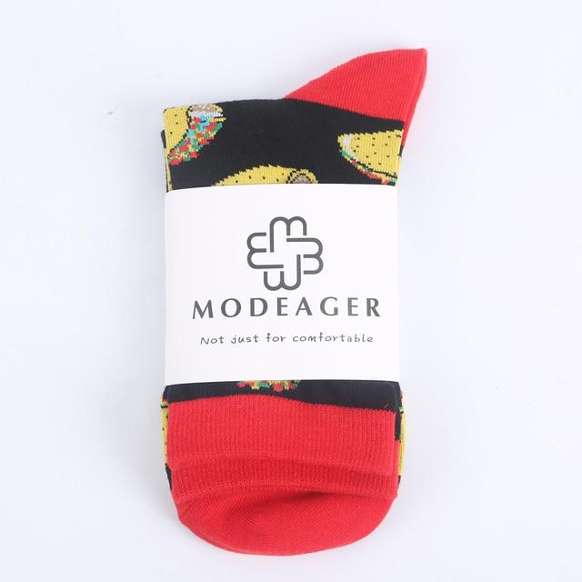 Modeager Brand Pepper Taco Food Dog Cat Pig Animal Funny Women Socks Cartoon Printed Colorful Cotton Socks Girls Ladies