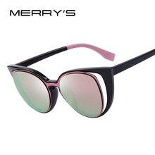 Веселая Мода кошачий глаз Солнцезащитные очки для женщин Для женщин Брендовая Дизайнерская обувь ретро пирсинг женский Защита от солнца Очки Óculos де золь UV400