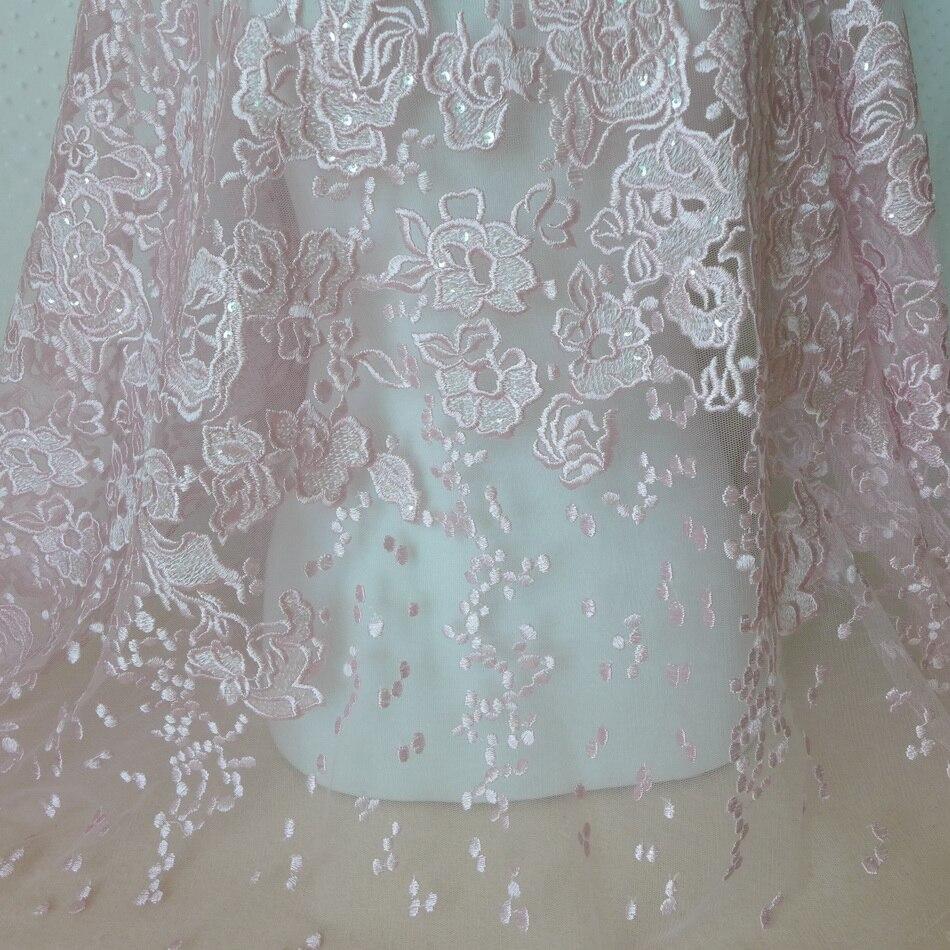 Jeden stoczni 135 cm piękny różowy cekiny koronki netto tiul z haftem tkaniny na poduszki dekoracyjne DIY kwiatowy do szycia odzieży w Materiał od Dom i ogród na  Grupa 1