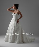 Lace Flowers Wedding Gowns 2014 New Fashion Sweetheart Off The Shoulder Open Back Free Shipping BN12