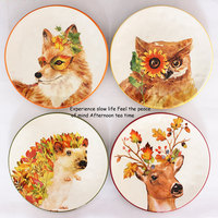 Animal Owl Fox Deer Hedgehog Dishes and Plates Cake Pastry Saucer Porcelain Tray Steak Noodle Dinner Ceramic Tableware Decor