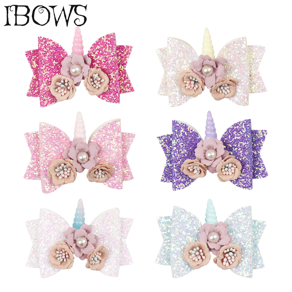 3'' Hair Accessories Bling Glitter Hair Clips For Girls Unicorn Hair Bows Lovely Flower Hairpins DIY Boutique Kids   Headwear