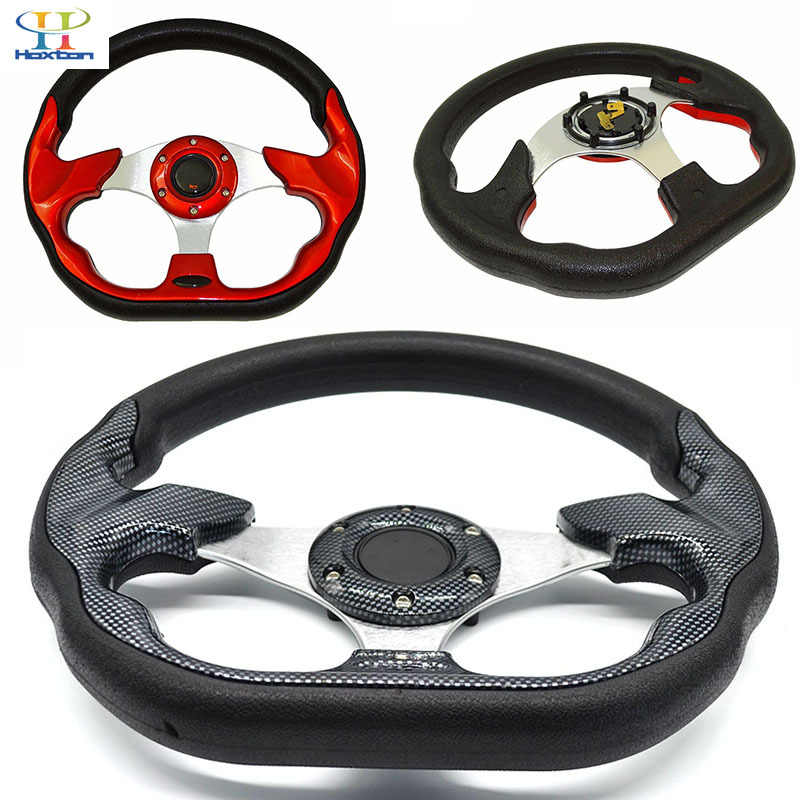 Universal steering wheel 320mm(12.5inches) PU leather racing Aluminum Frame Light Weight Modified Jdm sports(red black)