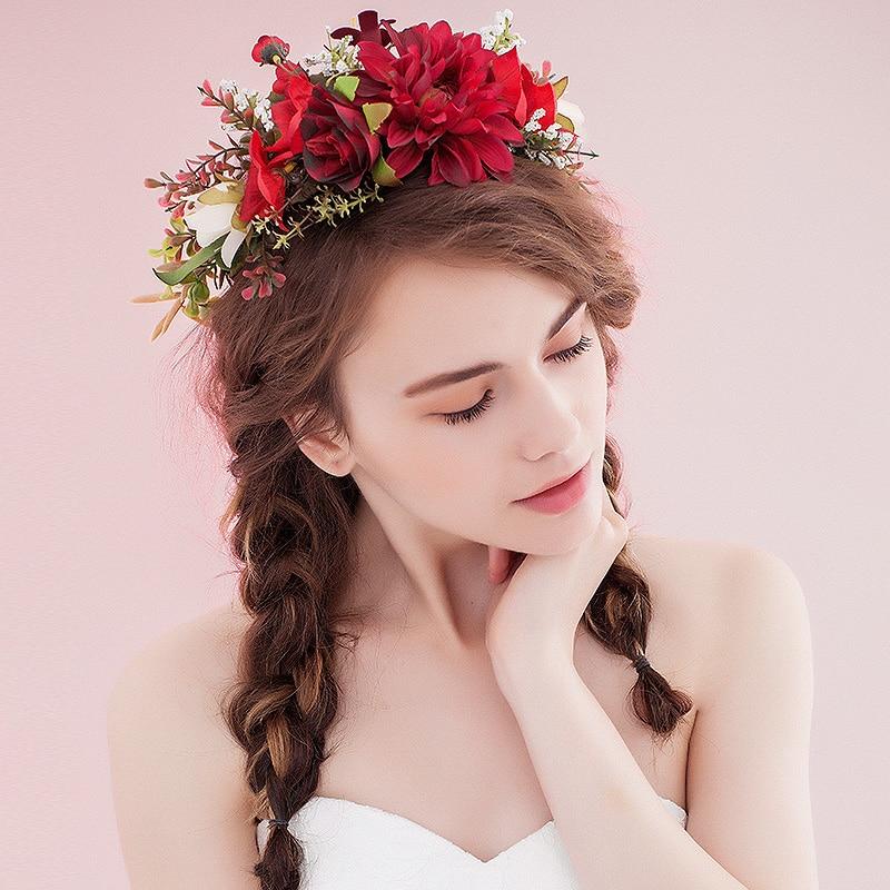 っNovias boda Accesorios de pelo simulación flores guirnalda tiaras ...