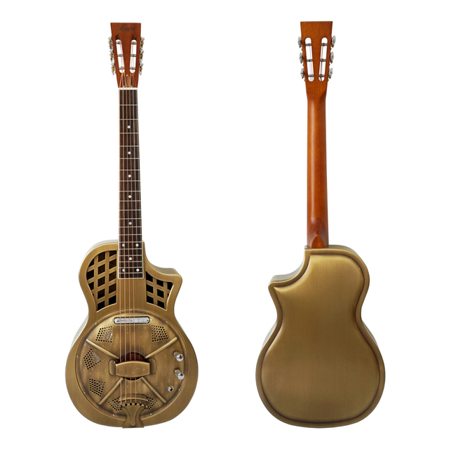 Aiersi Brand Vintage distressed golden finish Electric Parlour Resonator Guitar Free Guitar Case and Strap