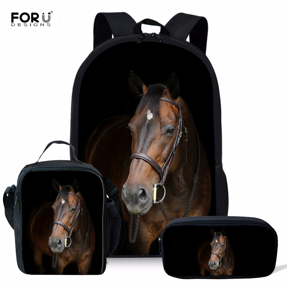 FORUDESIGNS 3pcs/set Wild Horses Design School Bag For Boys Orthopedic Backpacks Schoolbag In Primary Students Mochila Escolar