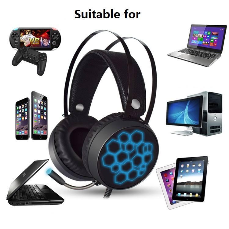 LED light Stereo Gaming Headset Headphones Over Ear 3 5mm USB with Microphone for PS4 Xbox One Mac PC iOS Android in Headphone Headset from Consumer Electronics