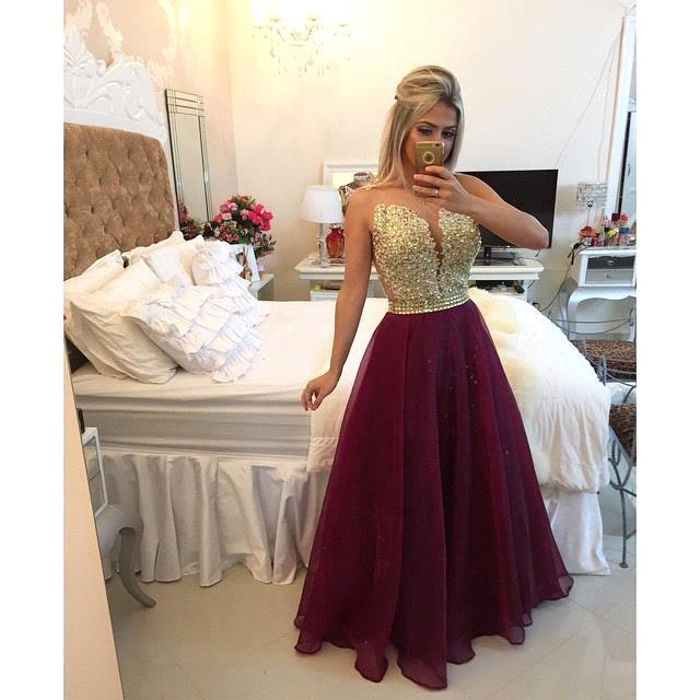 Sexy Sheer Back Golden Appliques Long   Prom     Dresses   2019 Charming Sweetheart Neck Tulle Evening   Dresses   Vestido De Festa Longo