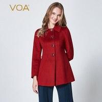 VOA Серый Красный Зимняя шерстяная одежда пальто Для женщин кашемировый пиджак S391