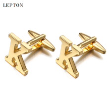 hot deal buy  letters k cufflinks for men with cufflinks box lepton high quality gold/silver color metal wedding shirt cuff links gemelos