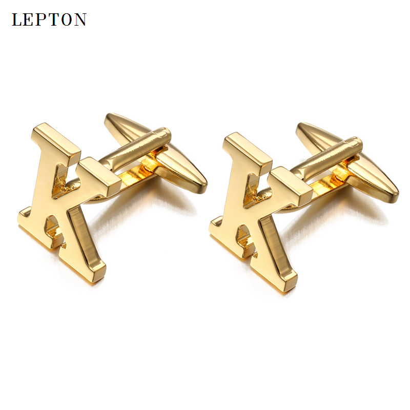 Letters K Cufflinks For Men With Cufflinks Box Lepton High Quality Gold/Silver Color Metal Wedding Shirt Cuff Links Gemelos