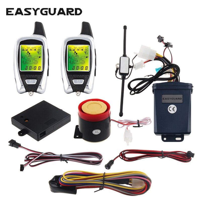 EASYGUARD LCD pager système d'alarme moto 2 voies avec démarrage à distance du moteur arrêt choc et capteur micro-ondes dc12v
