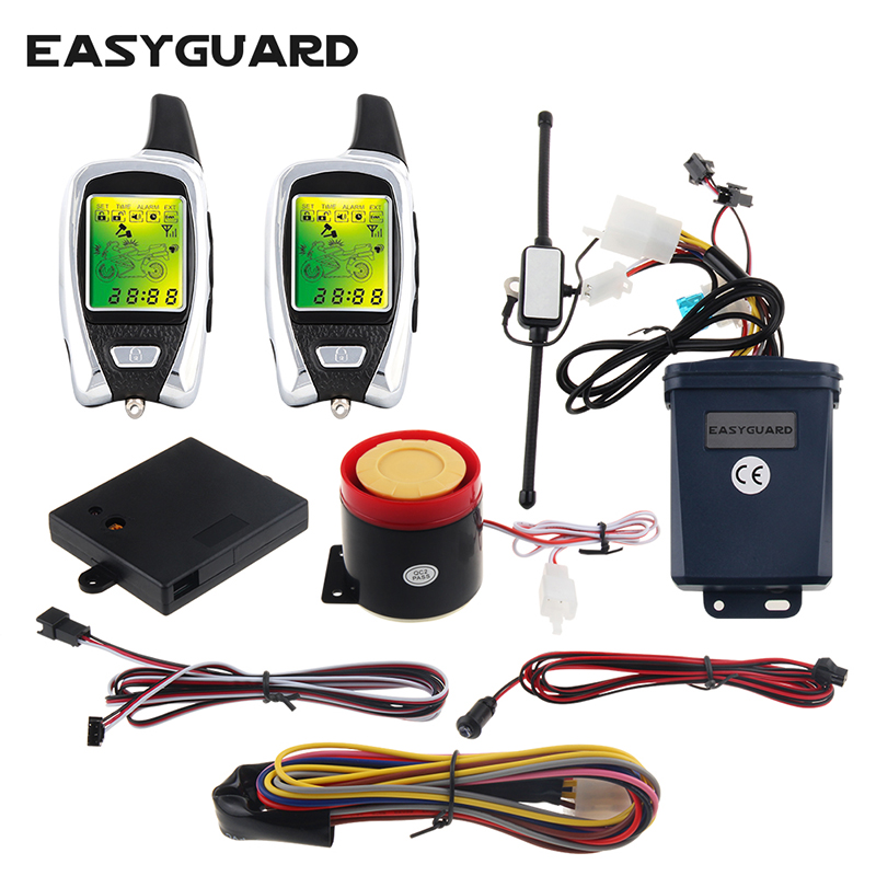цена High quality EASYGUARD LCD pager 2 way motorcycle alarm system with remote engine start starter & microwave sensor dc12v