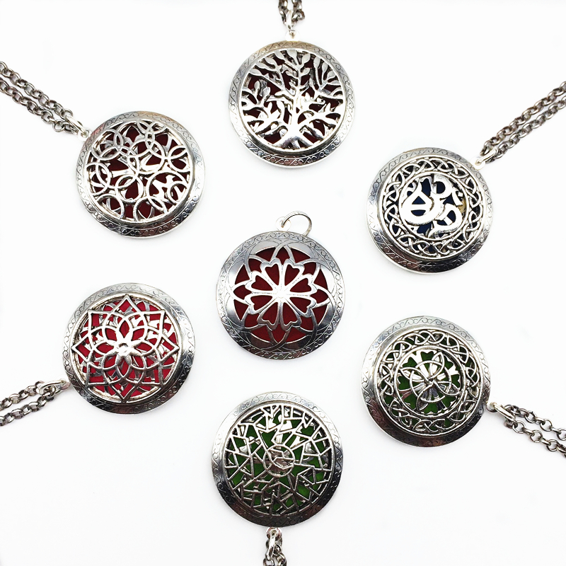 7PCS Mix Style Tibetan Silver Oil Essential Perfume Aromatherapy Locket Pendant Necklace Aroma Diffuser Necklace With