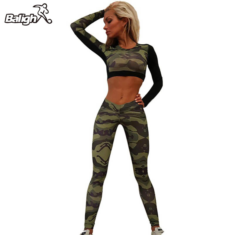 Quick Dry Camouflage Short Tops Shirt + Long Pants Women Trainning Exercise Sets Suits Summer Sport Suit Women Tracksuit ...