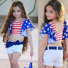 Toddler Baby Girl Backless Loose Sleeve Midriff-baring Shirt Flag Day 4th of July Striped Star Print Tops+ Shorts Outfits Set(China)