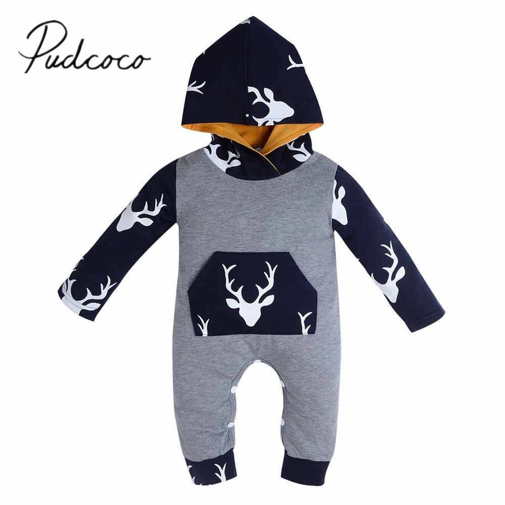 2017 Brand New Newborn Toddler Infant Baby Boy Girl Kids Deer Romper Jumpsuit Long Sleeve Clothes Hooded Autumn Casual Outfits