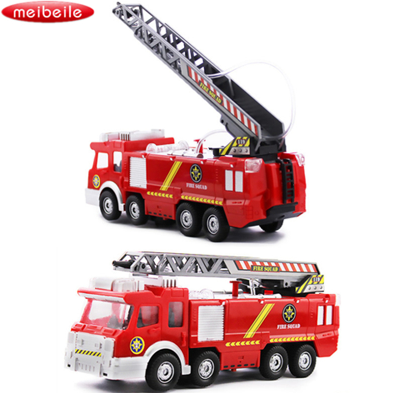 Original Box Playmobile Juguetes Fireman Sam Toys Fire Truck Car With Siren Toys For Boy Educational toy Water Gun Toy Truck