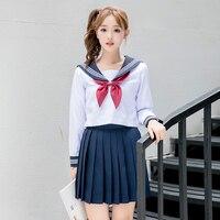 New sailor school uniform long sleeves navy sailor uniform korean japanese girls class service sailor top+skirt for sexy girls