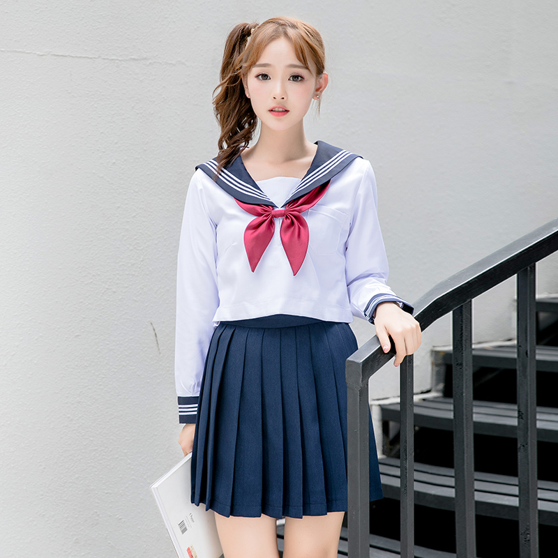 New sailor <font><b>school</b></font> <font><b>uniform</b></font> long sleeves navy sailor <font><b>uniform</b></font> korean <font><b>japanese</b></font> girls class service sailor top+skirt for <font><b>sexy</b></font> girls image