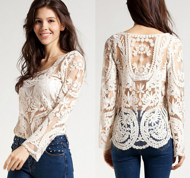 8515477b0f9 2016 New Sweet Semi Sexy Sheer Long Sleeve Vintage Embroidery Floral Lace  Crochet Hollow out Tee Top DropShipping