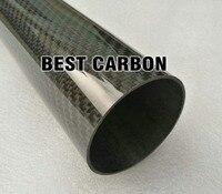 Бесплатная доставка 60 мм x 57 мм x 2000mmm высокое качество саржа Глянцевая К 3 К углерода волокно ткань Рана трубки