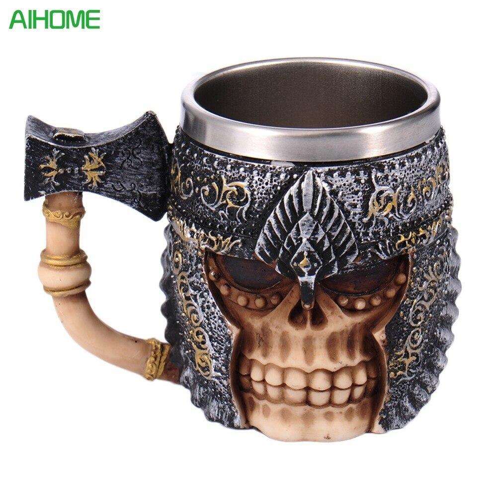 Kreative Streitaxt Schädel Krug Viking Schädel Horned Helm Krug Krieger Krug Gothic Trinken Schiff Metall Becher