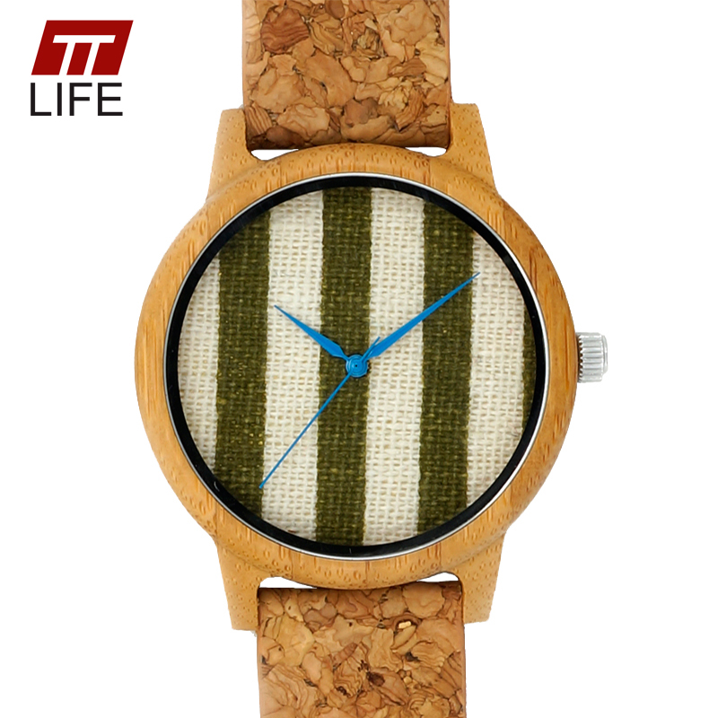 ФОТО TTLIFE Women Stripe Fabric Dial Wood Watch Leather Band Blue Pointer Wooden Case Unique Vertical stripes Dial Quartz Watches