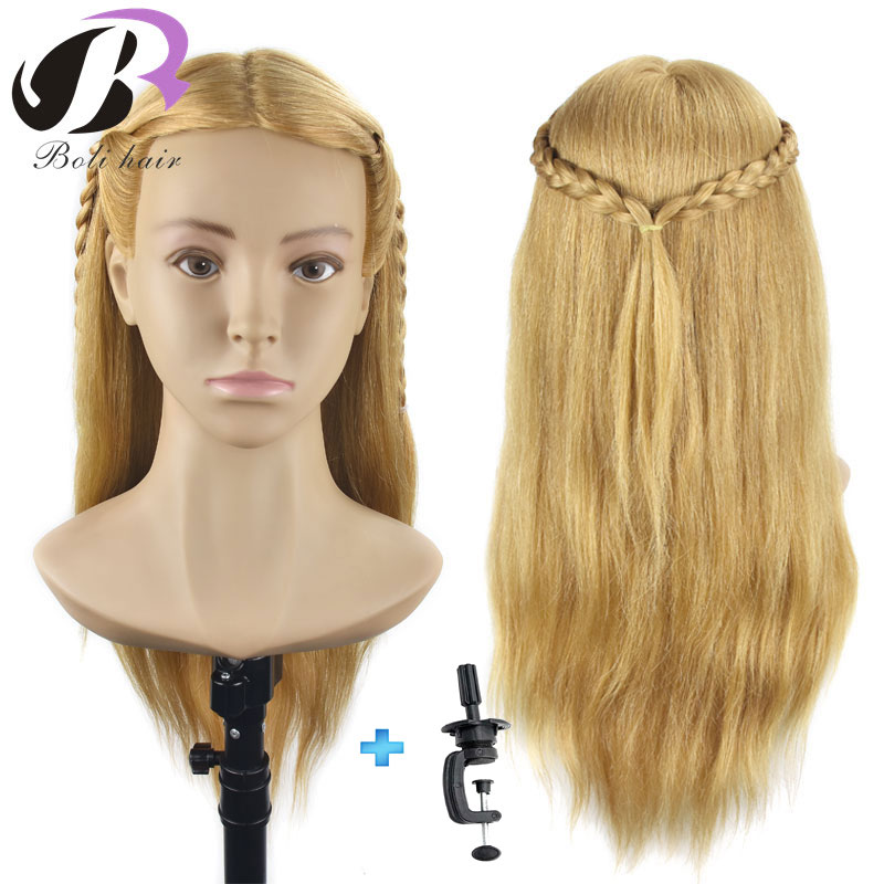Professional Mannequin Head with Human Hair Training Head Real Long Hair Hairdressing Training Heads Dummy Head