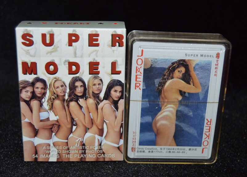 Free  shipping super model poker set sex adult poker sexy pretty woman playing cards deck as collection novelty present