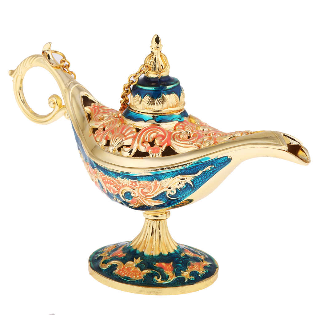 Vintage Metal Carved Magic Genie Bling Oil Lamp Arabian Light Lamp Jewelry Box For Storage Lots Women Jewelry