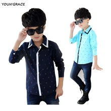 New Design Kids Spring Anchor Pattern Formal Dress Shirts for Boys Brand Fashion Boy Long Sleeve Casual Shirts with Pocket,YC043