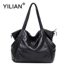 YILIAN 2017 New Woman Shoulder Bag Genuine Leather with Big Capacity Classic Black Cowhide Handbag Casual 7212
