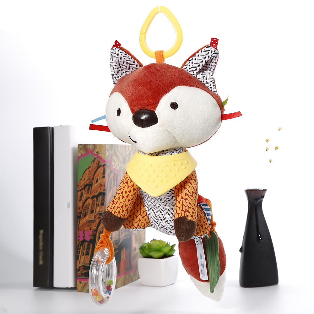 Hot Sale Lovely Fox Soft Plush Toy Doll Newborn Baby Bed Hanging Toy Bed Bell Stroller Toy For Infant Gift