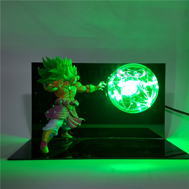 Dragon Ball Z Broly Super Saiyan Action Figure Kamehameha Led Table Lamp Anime Dragon Ball Z DBZ Collectible Model Toy Son Goku