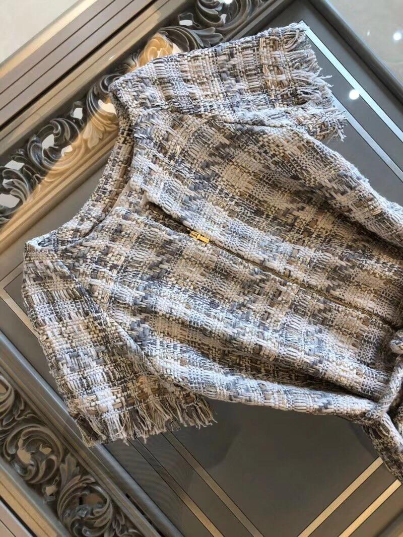 18 autumn Fashion show women's high-end quality tweed woven lace tassel dress Short sleeve miniskirt lattice Belt mini dress 6