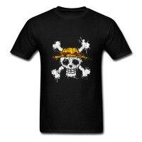 Hot Beliebten Männer T-shirt Ein Stück Schädel Strohhut LOGO flagge Drucken Baumwolle Runde Kragen Anime Kurzarm T-shirt Qualität männlich