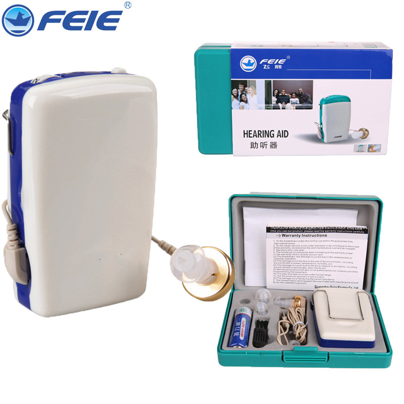 FEIE Analog Pocket Hearing Aid Portable Wire Earplugs Sound Enhancement Suitalbe for Elderly With Battery feie s 216 rechargeable sound enhancement ite hearing aid listen up deaf aid tools for home best freeselling