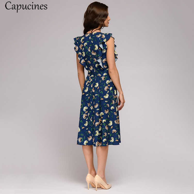 Capucines платье летнее 2019 бохо Цветочный Распечатать Оборка платья женские А-силуэт О-образный вырез повседневное платье женское Дамы Офисная рабочая одежда сарафан женский